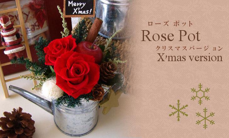 ローズポットクリスマス(レッド)【プリザーブドフラワー】